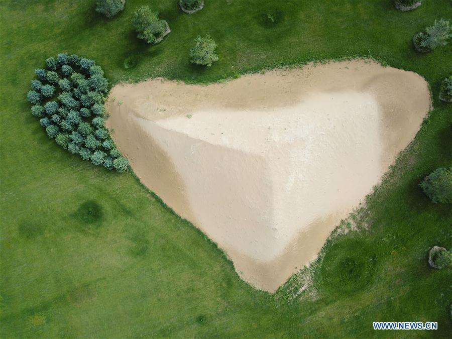 Aerial photo taken on Aug. 1, 2018 shows a sand dune reserved by an eco-technology center at the Kubuqi Desert in Hangjin Banner, north China\'s Inner Mongolia Autonomous Region. China has seen reduced desertification and increased forest coverage since 1978, thanks to the Three-North Afforestation Program (TNAP), said a report released on Dec. 24, 2018. Constructed in the northeast, north and northwest China, TNAP is a national program fighting against soil erosion and wind-sand damage by planting sand-fixing forests. The area of sand-fixing forests has increased by 154 percent in the past 40 years, contributing to the reduction of desertification by around 15 percent, according to a report jointly released by the National Forestry and Grassland Administration (NFGA) and the Chinese Academy of Sciences. Over the past 40 years, TNAP increased the forest area by 30.14 million hectares and raised the forest coverage rate from 5.05 percent to 13.57 percent in the regions it covers, said Liu Dongsheng, deputy head of the NFGA. (Xinhua/Xing Guangli)