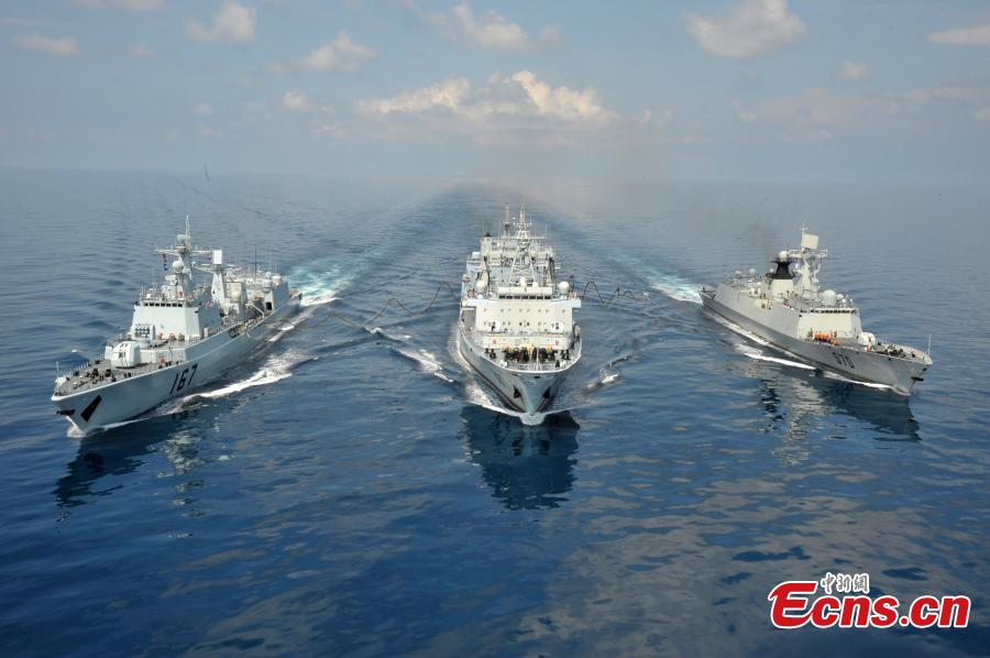 Three warships of Chinese Navy- Shenzhen, Huangshan and Weishanhu in an anti-piracy mission in August 2009. (Photo: China News Service/Cao Haihua)