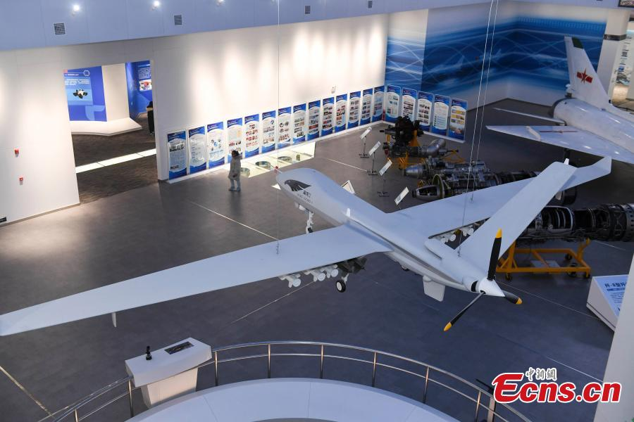 A model of China\'s indigenous Yilong drone at the Hunan Aviation Museum at the Changsha Aeronautical Vocational and Technical College in Changsha City, Central China\'s Hunan Province. The museum showcases aviation equipment, aviation technology and culture. It is also the national defense education base of Hunan. (Photo: China News Service/Yang Huafeng)