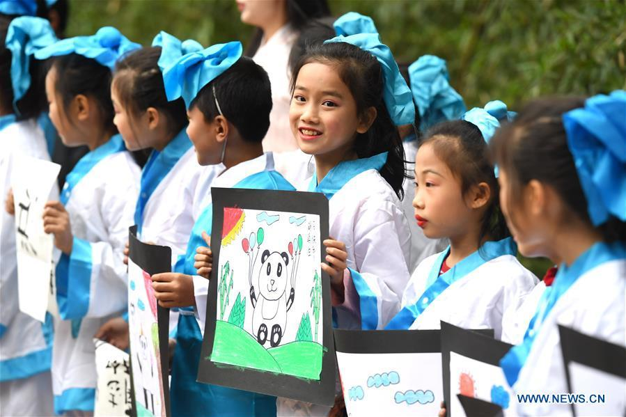Children present birthday cards for giant panda \