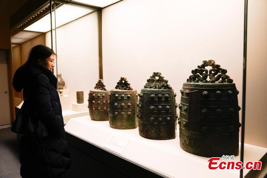 Bronze relics retrieved by police after they were stolen from ancient tombs in Wenxi of Shanxi Province are on display at an exhibition at the National Museum of China in Beijing, Dec. 26, 2018. The exhibition displays 750 precious artifacts retrieved during police efforts in recent years fighting crime involving stolen cultural treasures, which hail from Neolithic times through to the Qing Dynasty. (Photo: China News Service/Du Yang)