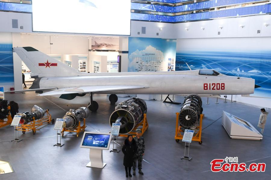 A decommissioned J-8 fighter craft at the Hunan Aviation Museum at the Changsha Aeronautical Vocational and Technical College in Changsha City, Central China\'s Hunan Province. The museum showcases aviation equipment, aviation technology and culture. It is also the national defense education base of Hunan. (Photo: China News Service/Yang Huafeng)