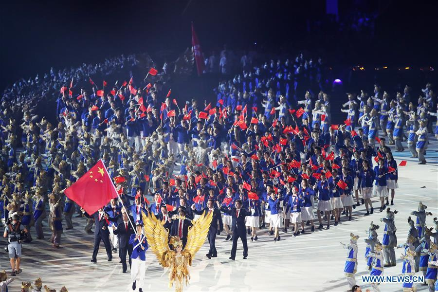 File photo taken on Aug. 18, 2018 shows delegation of China enters the Gelora Bung Karno (GBK) Main Stadium at the opening ceremony of the 18th Asian Games in Jakarta, Indonesia. China topped the Asian Games medal table for 10 straight times as the country claimed 132 gold, 92 silver and 65 bronze medals at Jakarta from August 18 to September 2. (Xinhua/Ding Ting)