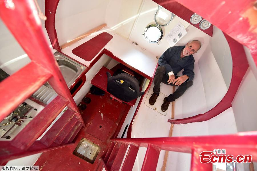 Jean-Jacques Savin, a former paratrooper, 71, poses aboard his ship made from a barrel on Nov. 15, 2018 at the shipyard in Ares, southwestern France. The Frenchman has embarked on an epic journey across the Atlantic on a barrel-shaped capsule heading towards the Caribbean. (Photo/Agencies)