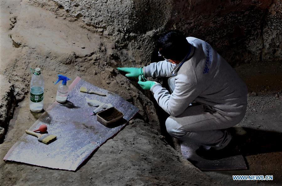 Picture taken on Dec. 11, 2018 shows a specialist working at the foundation of a Neolithic house in the Dahe Village relic site museum in Zhengzhou, capital of central China\'s Henan Province. The foundations of a Neolithic house that has stood for over 5,000 years in central China\'s Henan Province will be examined and reinforced 46 years after they were unearthed. The four-bedroom home is part of the Neolithic Yangshao culture, dating back 7,000 years. (Xinhua/Li An)