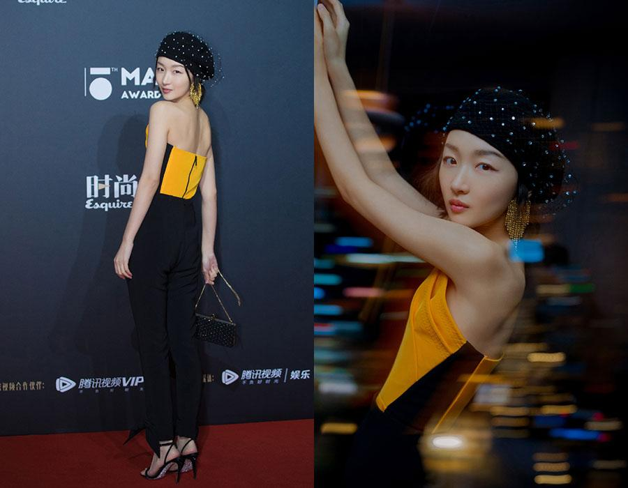 Actress Zhou Dongyu at the red carpet for the 15th Esquire Men At His Best (MAHB) Award 2018 in Beijing, China, Dec 4, 2018. [Photo provided to chinadaily.com.cn]