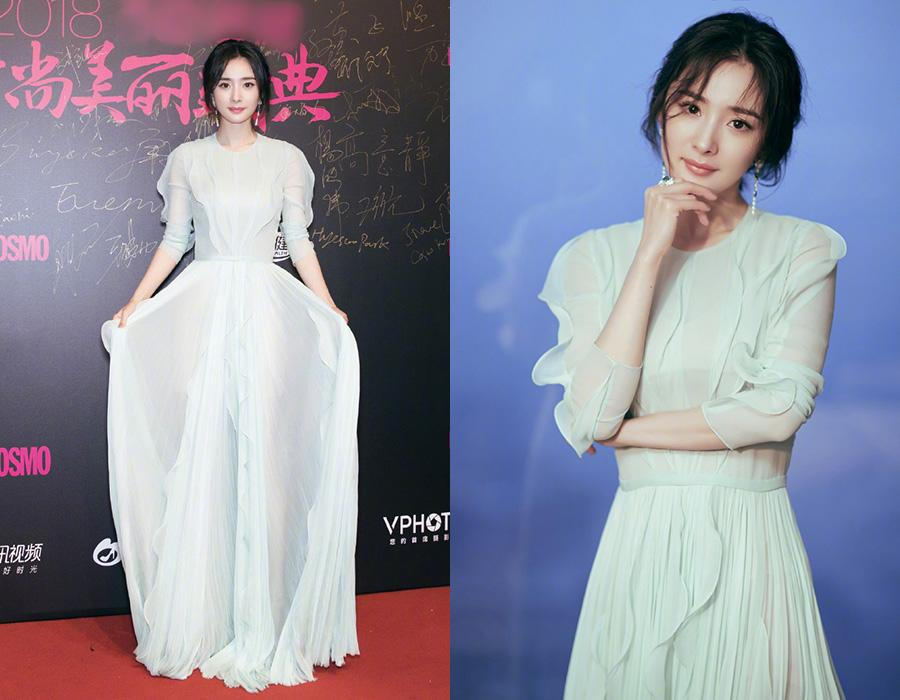 Actress Yang Mi on the red carpet for the 2018 Cosmo Beauty Awards Ceremony in Shanghai, China, Nov 28, 2018. [Photo provided to chinadaily.com.cn]