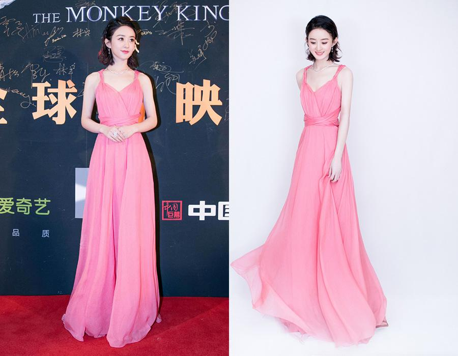 Actress Zhao Liying arrives on the red carpet for the premiere of the movie The Monkey King 3 in Beijing, China, Feb 4, 2018. [Photo provided to chinadaily.com.cn]