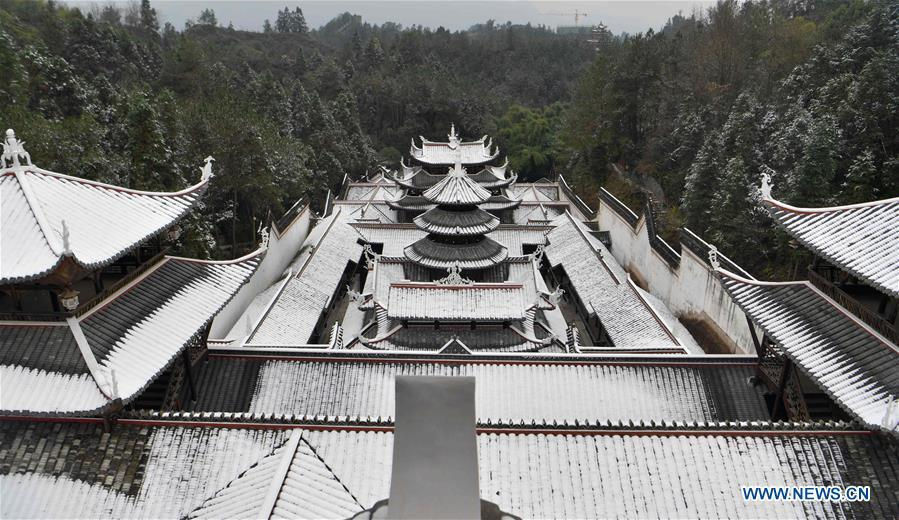 Photo taken on Dec. 31, 2018 shows the snow scenery at Tusi Castle in Enshi Tujia and Miao Autonomous Prefecture of central China\'s Hubei Province. (Xinhua/Yang Shunpi)
