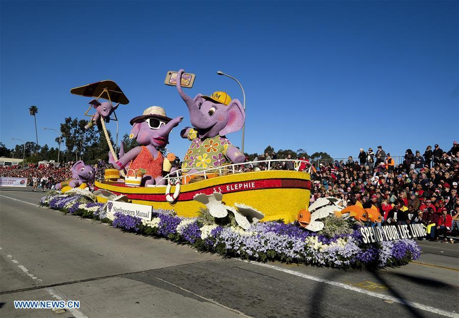 A float moves along Colorado Boulevard during the 130th Rose Parade in Pasadena, California, the United States, on Jan. 1, 2019. (Xinhua/Zhao Hanrong)