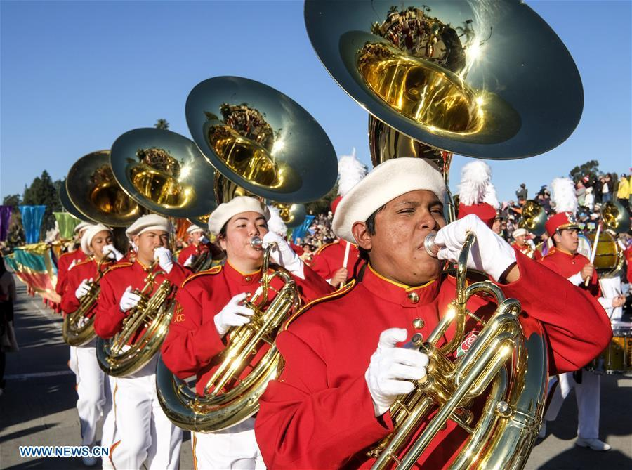 Members of a marching band perform along Colorado Boulevard during the 130th Rose Parade in Pasadena, California, the United States, on Jan. 1, 2019. (Xinhua/Zhao Hanrong)