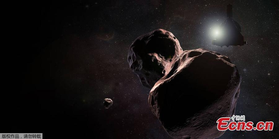 An artist\'s illustration of NASA\'s New Horizons spacecraft as it flies by Ultima Thule (2014 MU69) in the Kuiper Belt beyond Pluto on Jan. 1, 2019. The U.S. space agency\'s New Horizons probe has made contact with Earth to confirm its successful flyby of the icy world known as Ultima Thule. (Photo/Agencies)