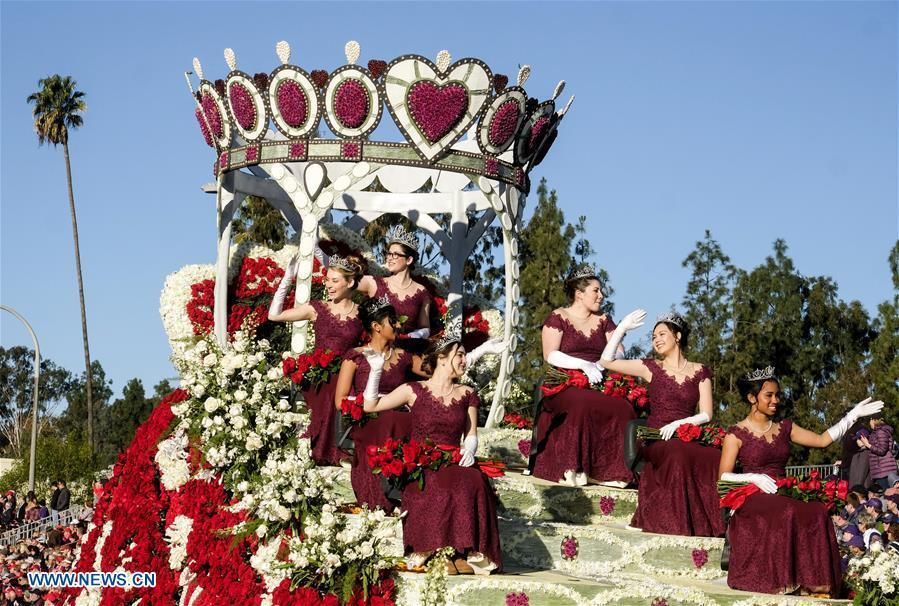 Rose Queen and Princesses are seen on a float along Colorado Boulevard during the 130th Rose Parade in Pasadena, California, the United States, on Jan. 1, 2019. (Xinhua/Zhao Hanrong)