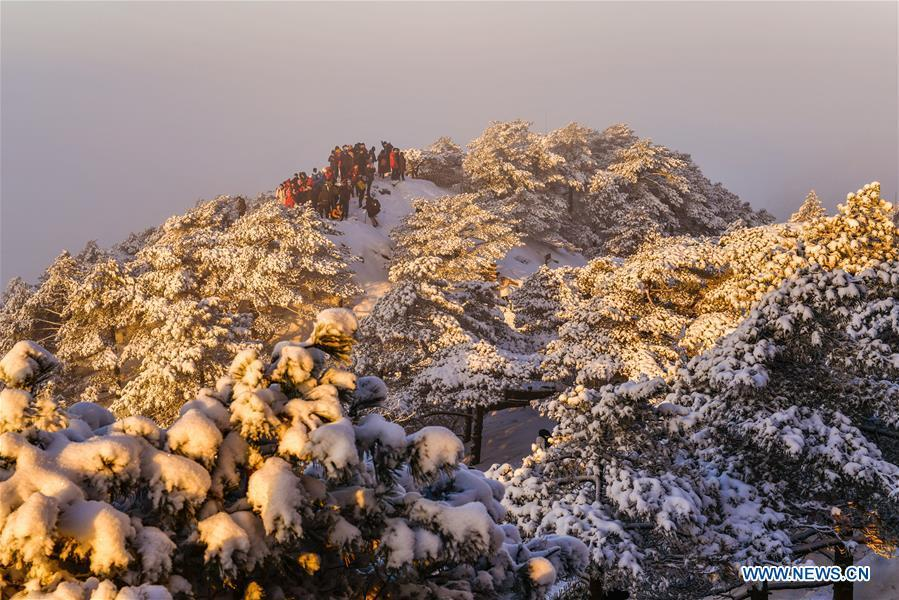 Visitors watch sunrise and clouds on the Huangshan Mountain in east China\'s Anhui Province, Dec. 31, 2018. (Xinhua/Shui Congze)