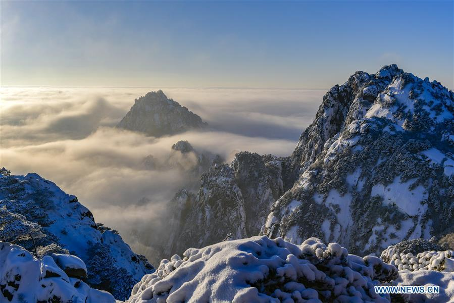 Photo taken on Dec. 31, 2018 shows the clouds seen on the Huangshan Mountain in east China\'s Anhui Province. (Xinhua/Shui Congze)