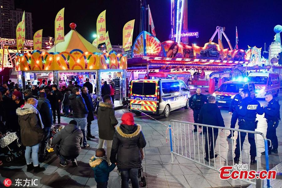 Three adults and five teenagers were trapped high in the air on a broken fairground ride in the city of Rennes, in western France, for more than eight hours from New Year's Eve into the early hours of 2019. (Photo/IC)