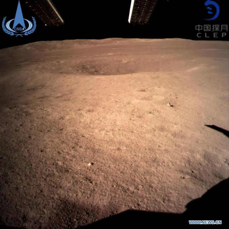 Photo provided by the China National Space Administration on Jan. 3, 2019 shows the first image of the moon\'s far side taken by China\'s Chang\'e-4 probe. China\'s Chang\'e-4 probe touched down on the far side of the moon Thursday, becoming the first spacecraft soft-landing on the moon\'s uncharted side never visible from Earth. The probe, comprising a lander and a rover, landed at the preselected landing area at 177.6 degrees east longitude and 45.5 degrees south latitude on the far side of the moon at 10:26 a.m. Beijing Time (0226 GMT), the China National Space Administration announced. (Xinhua)