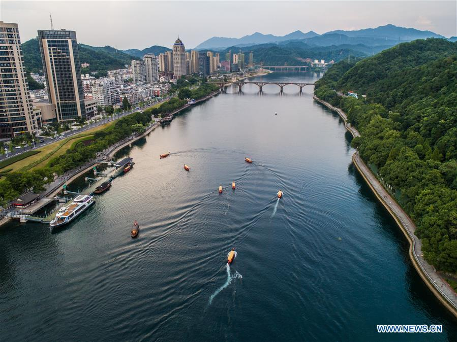 Aerial photo taken on July 23, 2018 shows a view of the Xin\'anjiang River in Jiande City, east China\'s Zhejiang Province. The 18th Central Committee of the Communist Party of China (CPC) held the third plenary session in November, 2013. In the five years since then, China\'s reform momentum had been particularly strong as the CPC decided to advance reform in all aspects during the meeting. Since the third plenary session, Chinese President Xi Jinping has presided over at least 45 high-profile meetings on advancing reforms, during which 400 documents and 1,932 reform plans have been launched. As a result, China\'s reform has been expanded from the economic field to a broad sphere including administrative management, culture, society, ecological conservation, Party building, and the military. (Xinhua/Xu Yu)