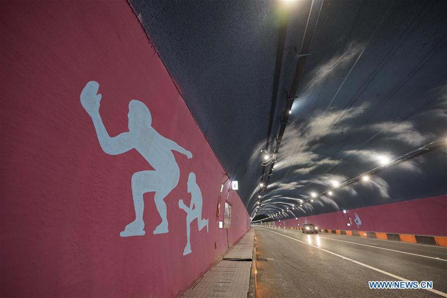 Photo taken on Jan. 1, 2019 shows Shixia Tunnel of the Xinglongkou-Yanqing section of Beijing-Chongli Expressway, which gets through Beijing\'s Changping district and Yanqing district, in Beijing, capital of China. After more than three years\' construction work, the 42.2-km-long Xinglongkou-Yanqing section of Beijing-Chongli Expressway linking northwest Beijing\'s Xinglongkou Village in Changping district and Yanqing district opened to traffic on Tuesday. Beijing-Chongli Expressway starts from Beijing and ends at Chongli of north China\'s Hebei Province. It will serve the Beijing International Horticultural Exhibition 2019 and the Beijing 2022 Winter Games, which are to be held in Yanqing and Chongli respectively. (Xinhua/Xing Guangli)