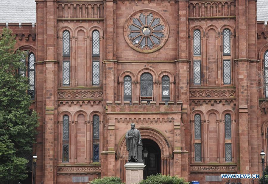 Photo taken on Jan. 2, 2019 shows the Smithsonian Institution Building in Washington D.C., the United States. The 19 Smithsonian museums and the National Zoo in Washington D.C. closed their doors on Wednesday as the partial U.S. government shutdown dragged on. (Xinhua/Liu Jie)