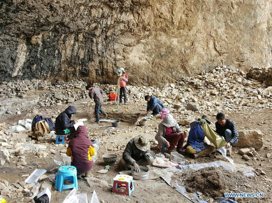 This file photo provided by Tibet Institute for Protection and Research of Cultural Relics on Aug. 16, 2018 shows members of an archaeology team working at the Melong Tagphug cave site in Ngari Prefecture, southwest China\'s Tibet Autonomous Region. The Melong Tagphug cave site containing delicate stone tools and pottery shards believed to be at least 4,000 years old was unearthed in Ngari Prefecture of China\'s Tibet. It is the first prehistoric cave site confirmed on the Qinghai-Tibet Plateau. (Xinhua)