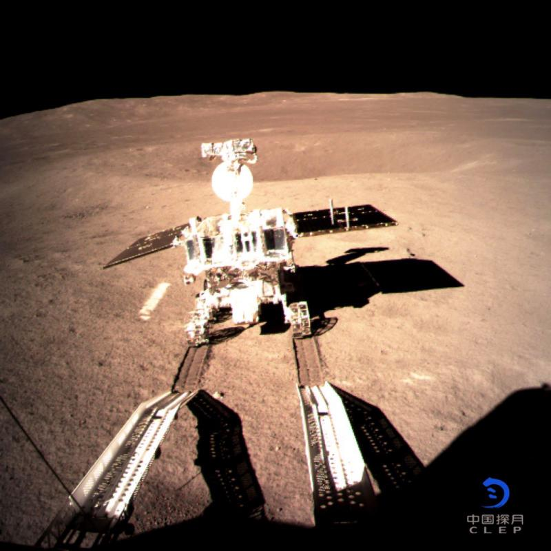 The far side of the moon taken by the Chang\'e-4 lunar probe is seen in this image provided by the China National Space Administration, Jan. 3, 2019. China\'s lunar rover, Yutu-2, or Jade Rabbit-2, left the first ever \