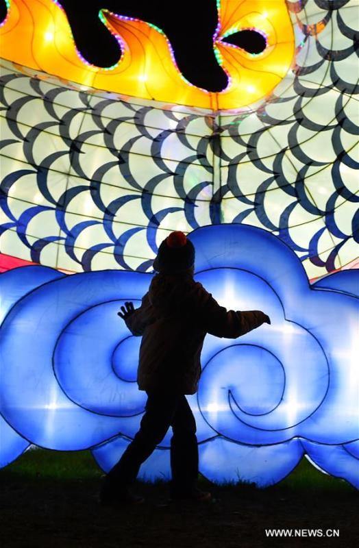 A child is silhouetted against a light during China Light Festival at Cologne Zoo in Cologne, Germany, on Jan. 3, 2019. The festival is held here presenting more than 50 lights from Dec. 8, 2018 to Jan. 20, 2019. (Xinhua/Lu Yang)