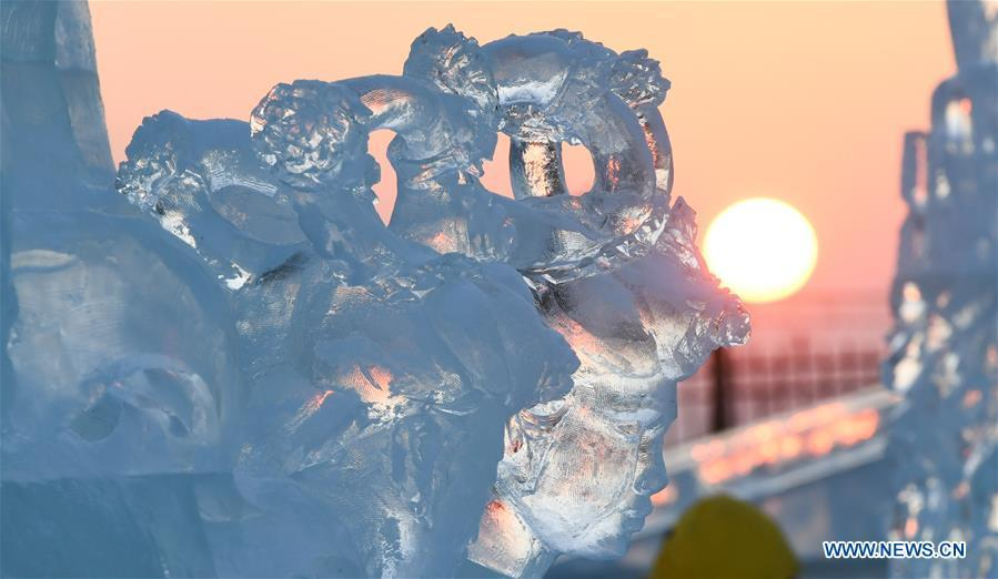 Photo taken on Jan. 3, 2019 shows a part of an ice sculpture during an international ice sculpture competition in Harbin, capital of northeast China\'s Heilongjiang Province. (Xinhua/Wang Song)