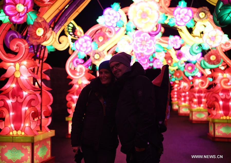 People visit China Light Festival at Cologne Zoo in Cologne, Germany, on Jan. 3, 2019. The festival is held here presenting more than 50 lights from Dec. 8, 2018 to Jan. 20, 2019. (Xinhua/Lu Yang)