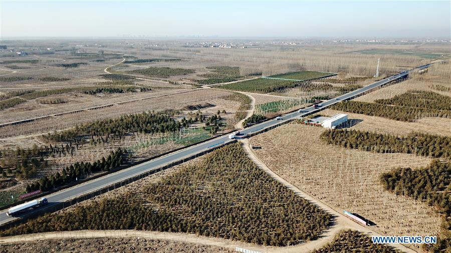Photo taken on Dec. 8, 2018 shows a forestation site in Xiongan New Area, north China\'s Hebei Province. China\'s central authorities have approved the 2018-2035 master plan for Xiongan New Area, stressing that its creation is significant to high-quality development and the building of the modern economic system. The plan was approved by the Central Committee of the Communist Party of China (CPC) and the State Council. The master plan is the fundamental guideline for the development, construction and management of the Xiongan New Area and should be strictly implemented, according to the approval released on Wednesday. The plan also lists overall development goals for the new area. By 2035, Xiongan will basically develop into a modern city that is green, intelligent and livable, with relatively strong competitiveness and harmonious human-environment interaction. (Xinhua/Mu Yu)