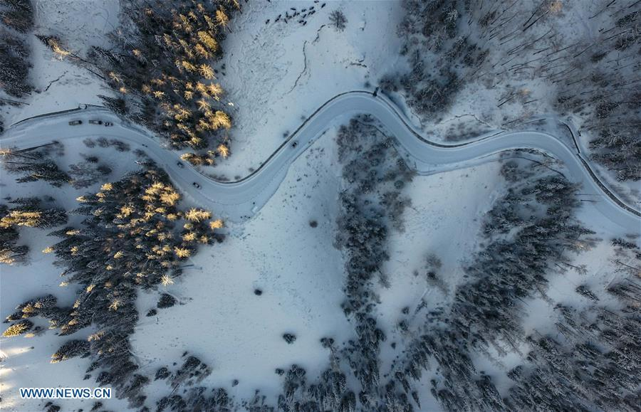 Aerial photo taken on Jan. 2, 2019 shows snow scenery in Kanas, northwest China\'s Xinjiang Uygur Autonomous Region. Kanas scenic spot attracts lots of visitors in winter with its pure snow scenery and various entertainment. (Xinhua/Zhao Ge)