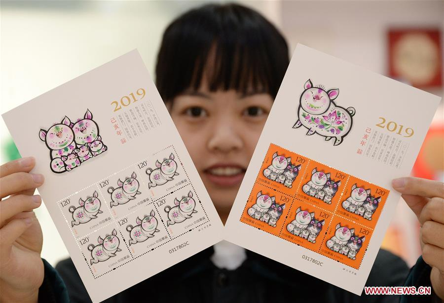 A staff member presents special zodiac stamps for the lunar year of the Pig in Handan, north China\'s Hebei Province, Jan. 5, 2019. China Post on Saturday issued a set of special zodiac stamps in honor of 2019 Chinese Lunar New Year, or the Year of the Pig. The Year of the Pig starts from Feb. 5, 2019. (Xinhua/Hao Qunying)