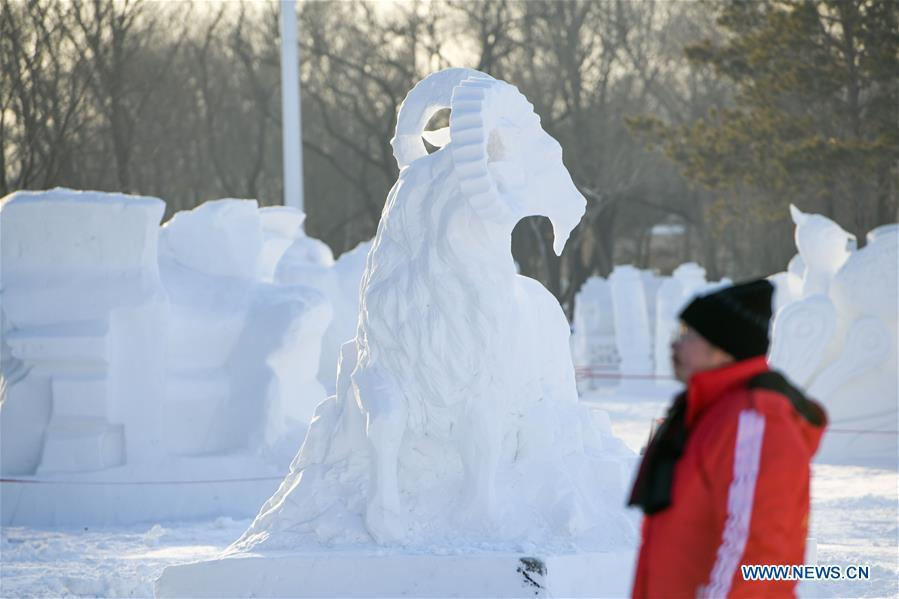 Photo taken on Jan. 6, 2019 shows a snow sculpture at the Sun Island International Snow Sculpture Art Expo park in Harbin, northeast China\'s Heilongjiang Province. The four-day snow sculpture competition of college students attracted over 70 participants from 17 colleges across China. (Xinhua/Wang Song)