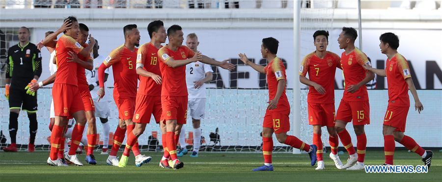 Players of China celebrate their first goal during the group C match between China and Kyrgyz Republic of the AFC Asian Cup UAE 2019 in Al Ain, the United Arab Emirates (UAE), on Jan. 7, 2019. China won 2-1. (Xinhua/Li Gang)
