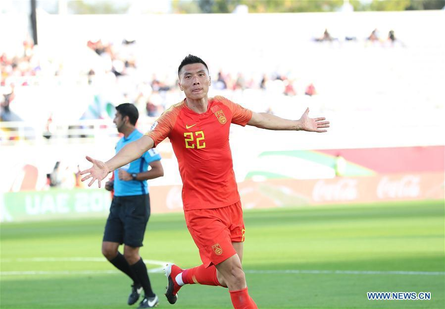 Yu Dabao (front) of China celebrates scoring during the group C match between China and Kyrgyz Republic of the AFC Asian Cup UAE 2019 in Al Ain, the United Arab Emirates (UAE), on Jan. 7, 2019. China won 2-1. (Xinhua/Cao Can)