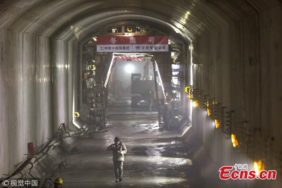 A view of the newly-constructed underground utility tunnel that will service the Beijing 2022 Winter Olympics venue in Yanqing District, Beijing, Jan. 7, 2019. The corridor, which passes through a mountain, including electricity, water supply pipes, and TV and communications cables. (Photo/VCG)
