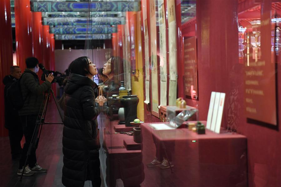 People visit the Palace Museum, also known as the Forbidden City in Beijing, capital of China, Jan. 7, 2019. In celebrating of the most magnificent of all traditional holidays, the Palace Museum presents exhibition of \