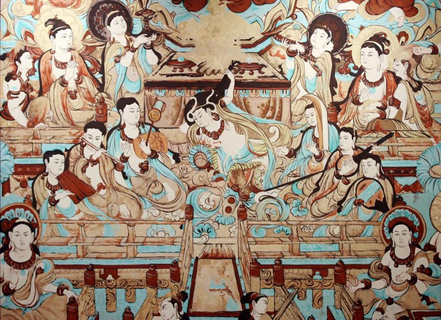 An oil painting by a Russian artist features a figure in the center playing pipa from behind his back, inspired by a mural in the No 112 Cave of the Mogao Grottoes. (Photo/chinadaily.com.cn)