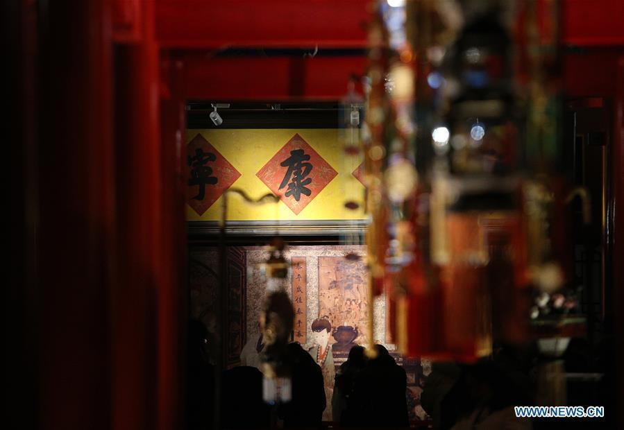 People visit an exhibition at the Palace Museum, also known as the Forbidden City, in Beijing, capital of China, Jan. 8, 2019. The Palace Museum presents exhibition of \