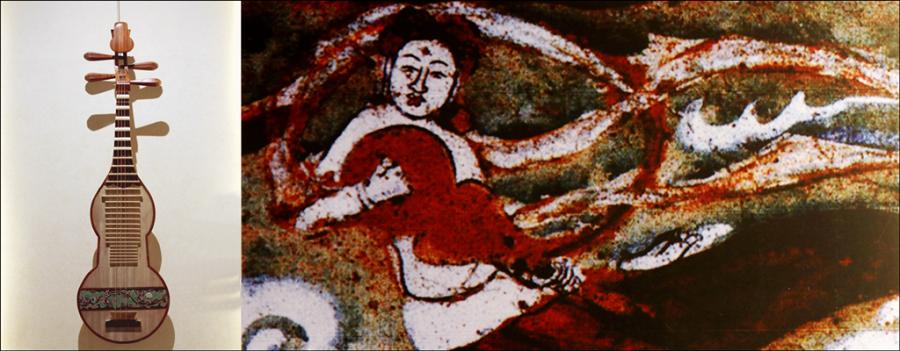 A gourd-shaped string instrument is seen in a mural in the No 322 Cave of the Mogao Grottoes. (Photo/chinadaily.com.cn)