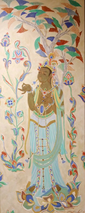 A painting by a Russian artist portrays the Avalokitesvara Bodhisattva, or Guanyin in Chinese, from the No 321 Cave of the Mogao Grottoes. (Photo/chinadaily.com.cn)