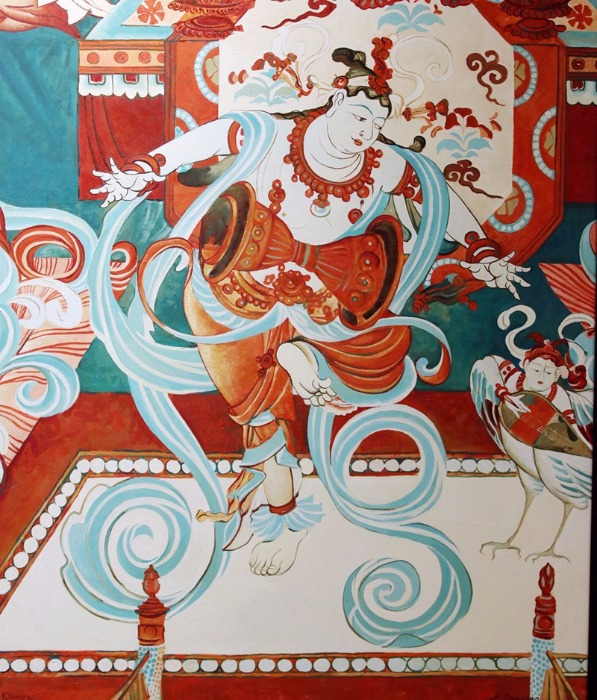 A painting by a Russian artist portrays a Buddhist story from the Yulin Cave No 21 of the Mogao Grottoes. (Photo/chinadaily.com.cn)