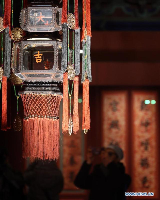 Decorative lanterns are seen at the Palace Museum, also known as the Forbidden City, in Beijing, capital of China, Jan. 8, 2019. The Palace Museum presents exhibition of \
