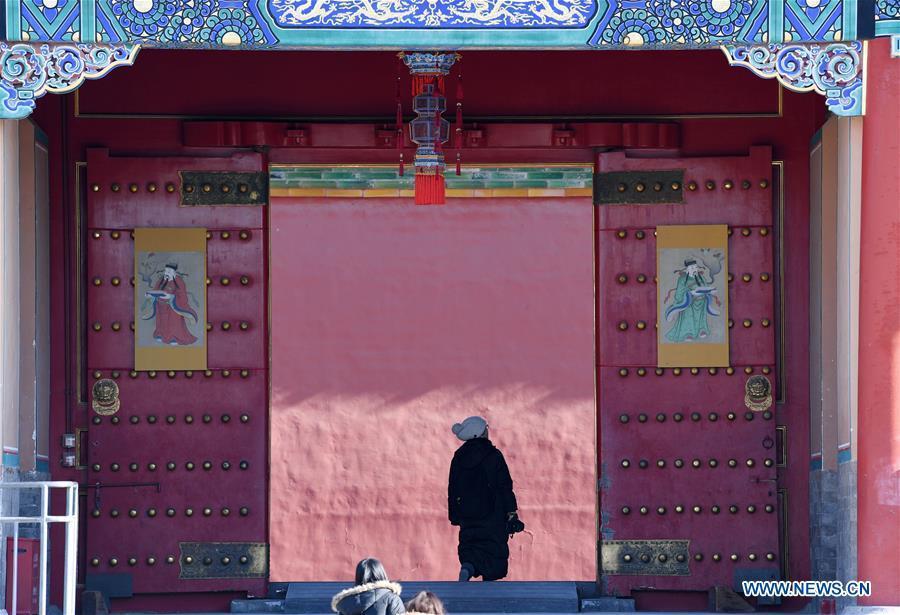 People visit the Palace Museum, also known as the Forbidden City, in Beijing, capital of China, Jan. 8, 2019. The Palace Museum presents exhibition of \