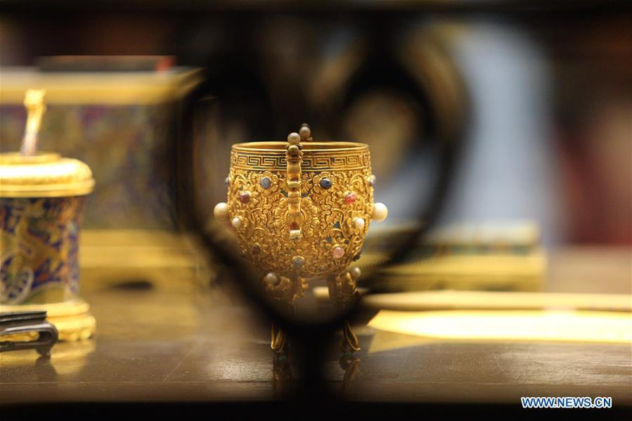 Exhibits are displayed at the Palace Museum, also known as the Forbidden City, in Beijing, capital of China, Jan. 8, 2019. The Palace Museum presents exhibition of \