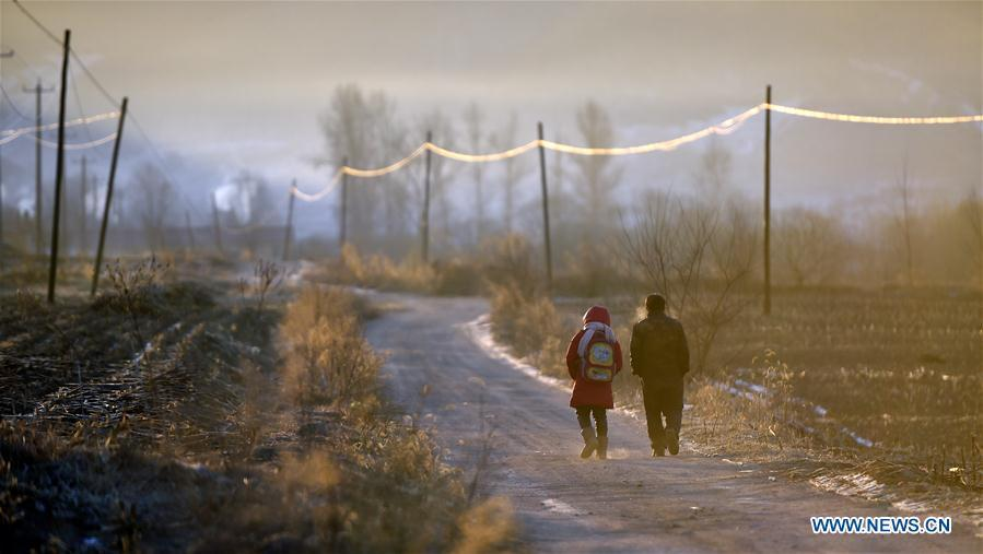 Hu Zhisheng and his student Sun Xiaofeng walk to school in Yantai Village of Lianhua Township in Tieling City, northeast China\'s Liaoning Province, Jan. 8, 2019. Located in a remote mountain village, most students of Yantai school had transferred to other places outside the mountain. Sun Xiaofeng, a third grade student, became the only student of the school in September last year taught by Hu Zhisheng, the only one faculty of Yantai primary school. (Xinhua/Yao Jianfeng)