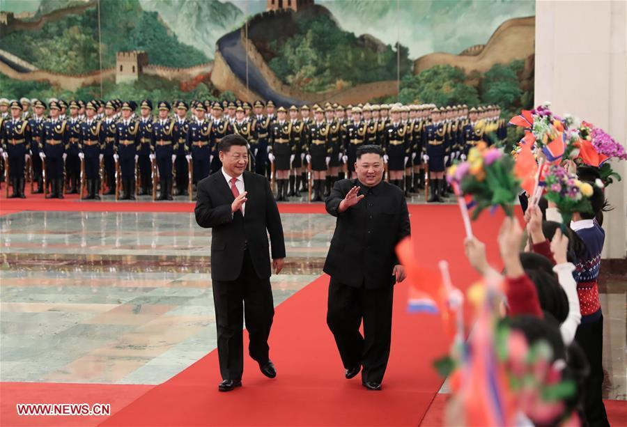 Xi Jinping, general secretary of the Central Committee of the Communist Party of China and Chinese president, holds a welcoming ceremony for Kim Jong Un, chairman of the Workers\' Party of Korea and chairman of the State Affairs Commission of the Democratic People\'s Republic of Korea, before their talks at the Great Hall of the People in Beijing, capital of China, Jan. 8, 2019. Xi Jinping on Tuesday held talks with Kim Jong Un, who arrived in Beijing on the same day for a visit to China. (Xinhua/Huang Jingwen)