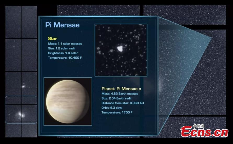 NASA\'s planet-hunting spacecraft TESS has already confirmed a sub-Neptune planet with a 36-day orbit around its star. The planet orbits a K-dwarf star about 52 light years away, in the constellation Reticulum. This is the third confirmed exoplanet that TESS has found. The Transiting Exoplanet Survey Satellite (TESS) is a two-year survey that will discover exoplanets in orbit around bright stars. (Photo/Agencies)
