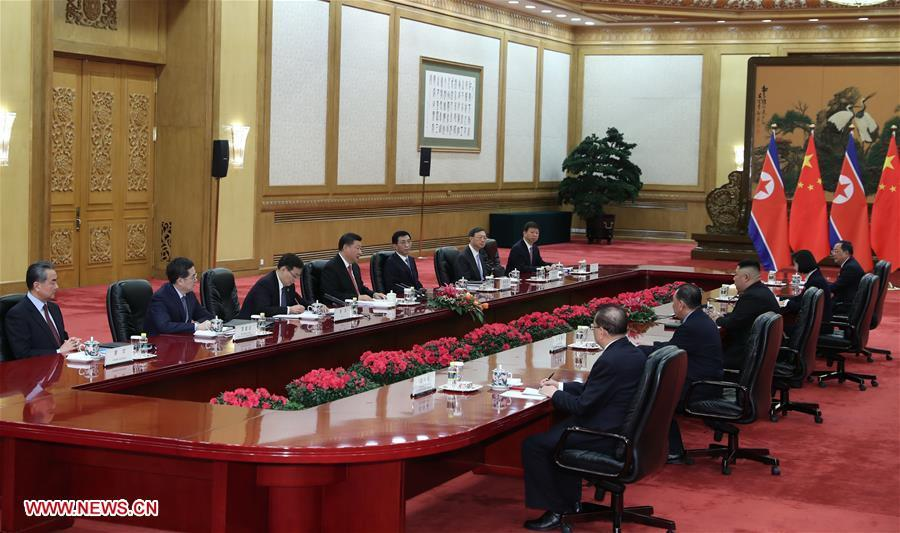 Xi Jinping, general secretary of the Central Committee of the Communist Party of China and Chinese president, holds talks with Kim Jong Un, chairman of the Workers\' Party of Korea and chairman of the State Affairs Commission of the Democratic People\'s Republic of Korea, in Beijing, capital of China, Jan. 8, 2019. Xi Jinping on Tuesday held talks with Kim Jong Un, who arrived in Beijing on the same day for a visit to China. (Xinhua/Xie Huanchi)