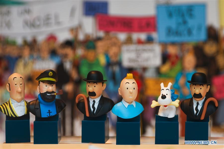Toy models of Tintin and other figures based on the comic series \